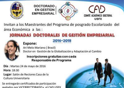 Invitación  Evento apertura de Jornadas Doctorales en Gestión Empresarial